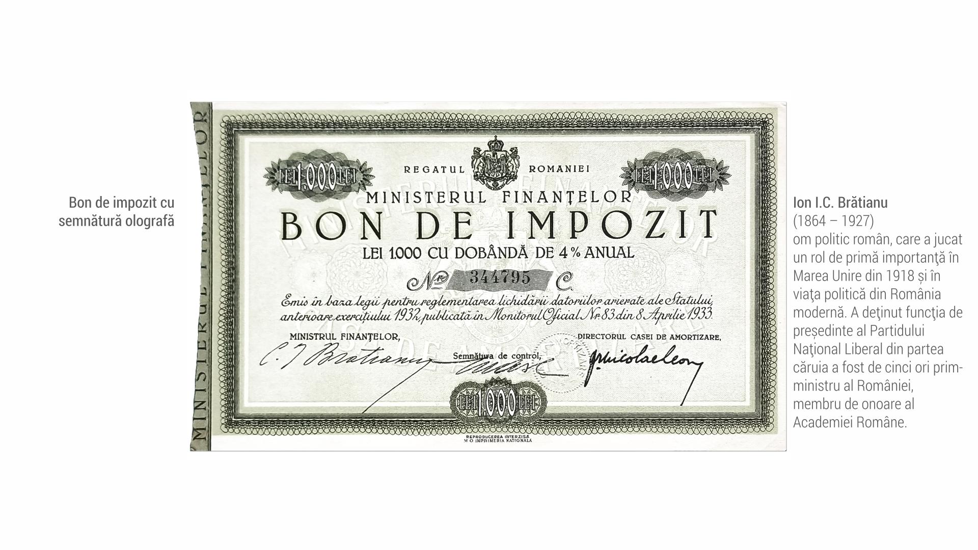 1864 Ion I C Bratianu - Bon de impozit