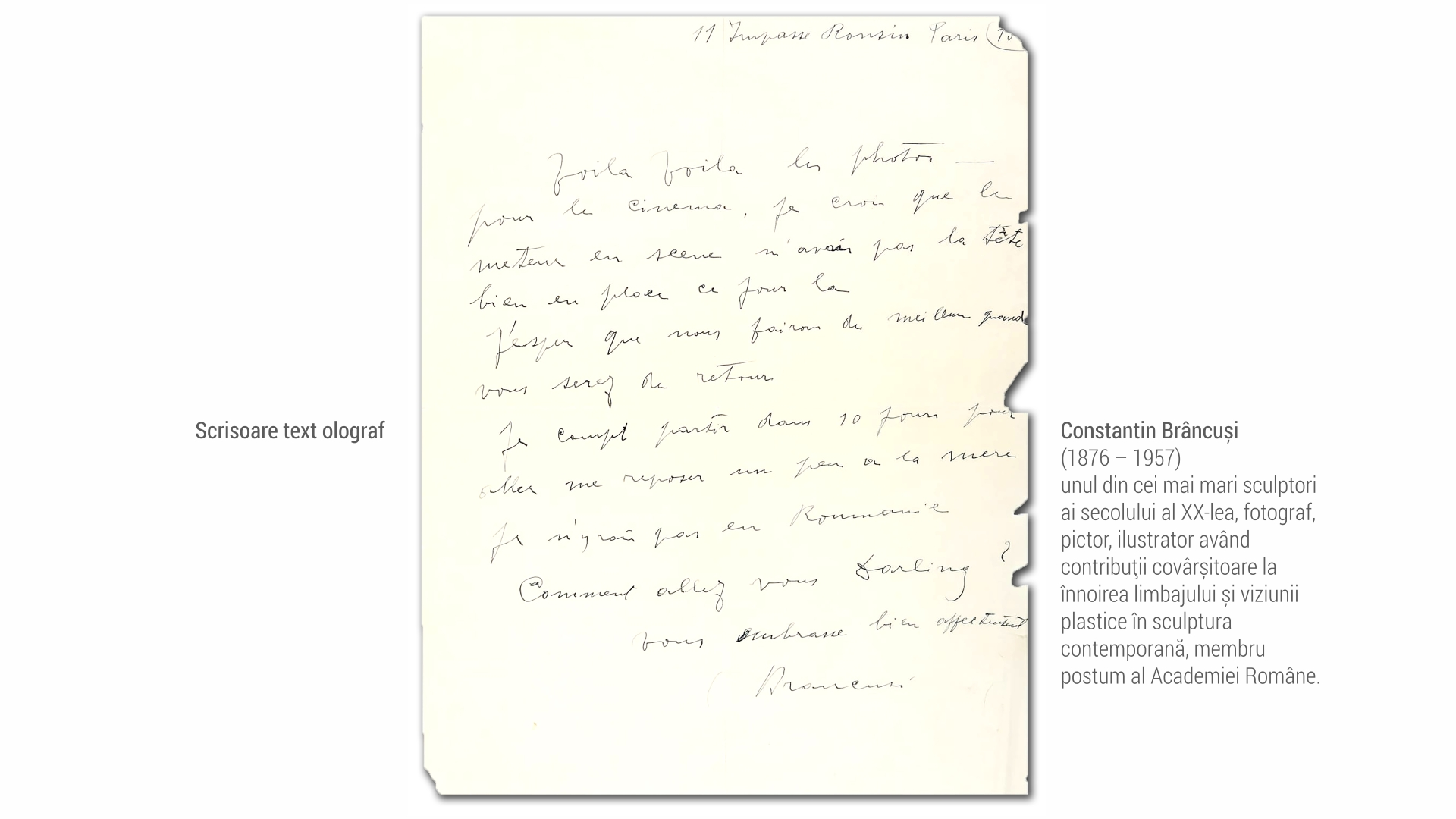 1876 Constantin Brancusi - scrisoare