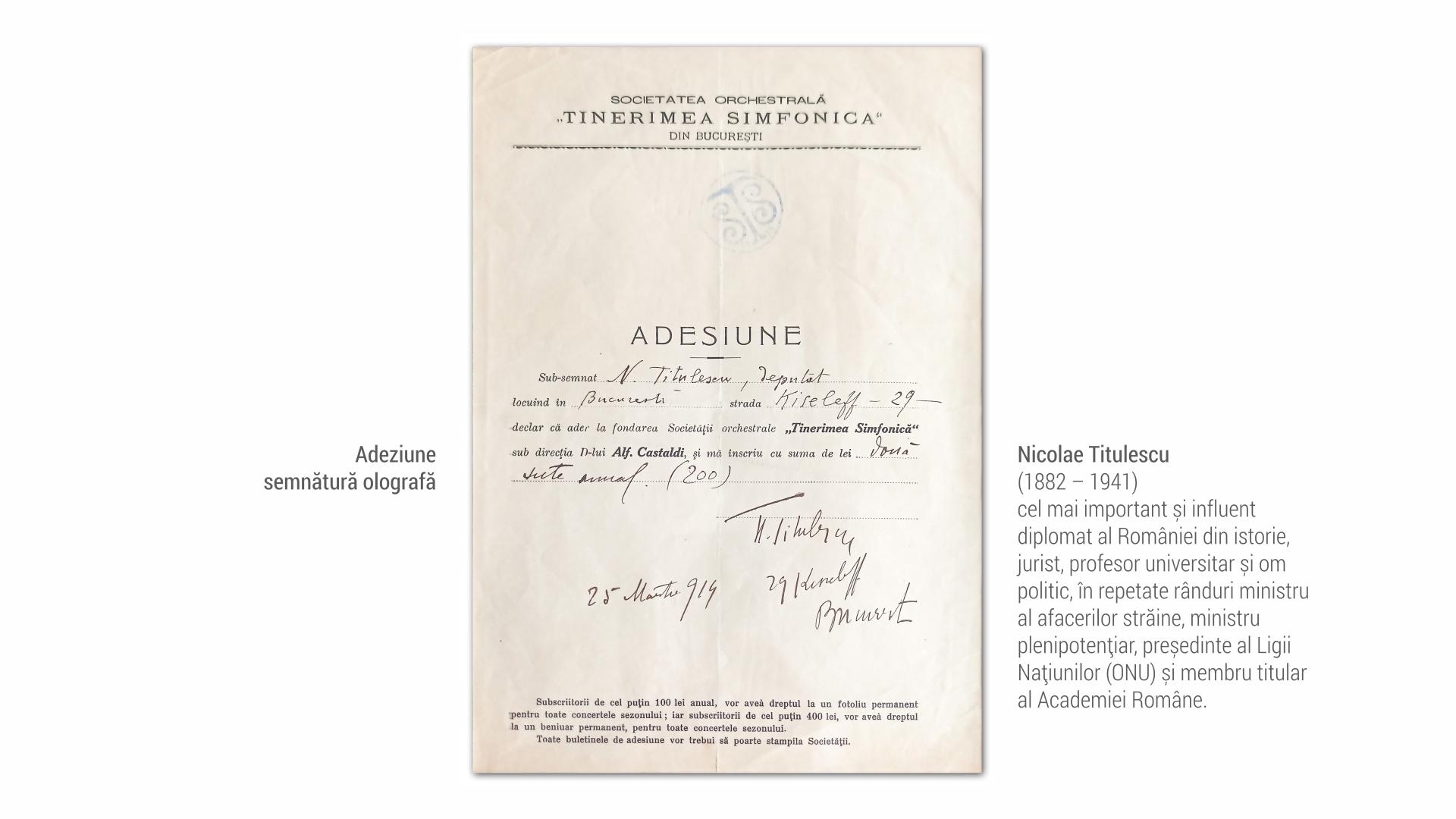 1882 Nicolae Titulescu - adeziune