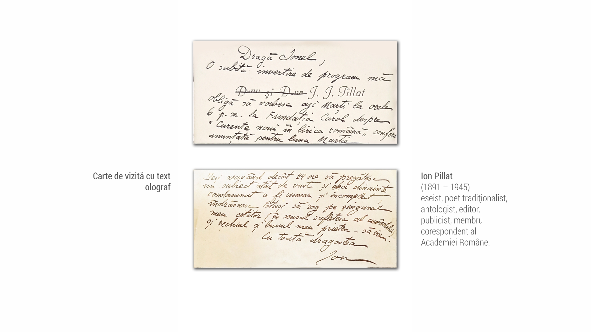 1891 Ion Pillat - carte de vizita