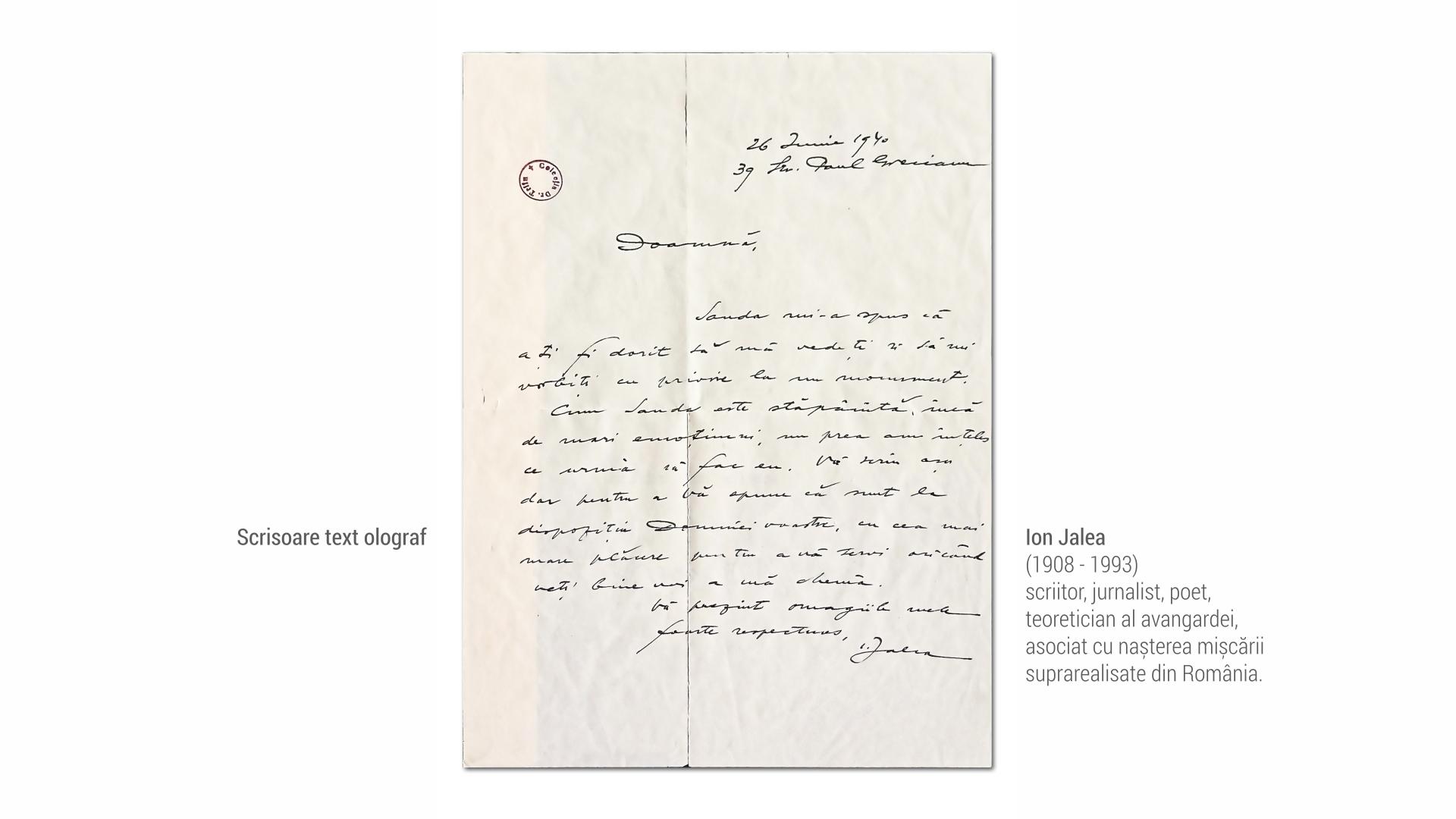 1908 Ion Jalea - scrisoare