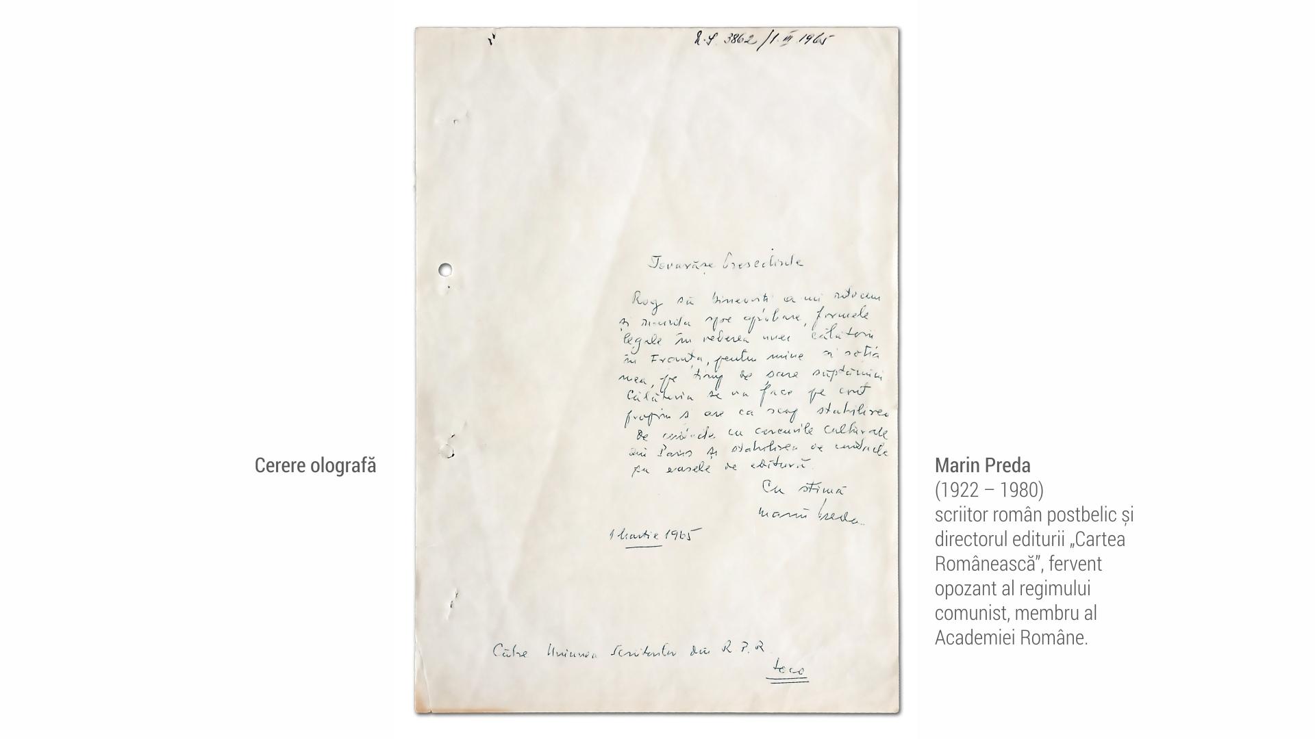 1922 Marin Preda - cerere