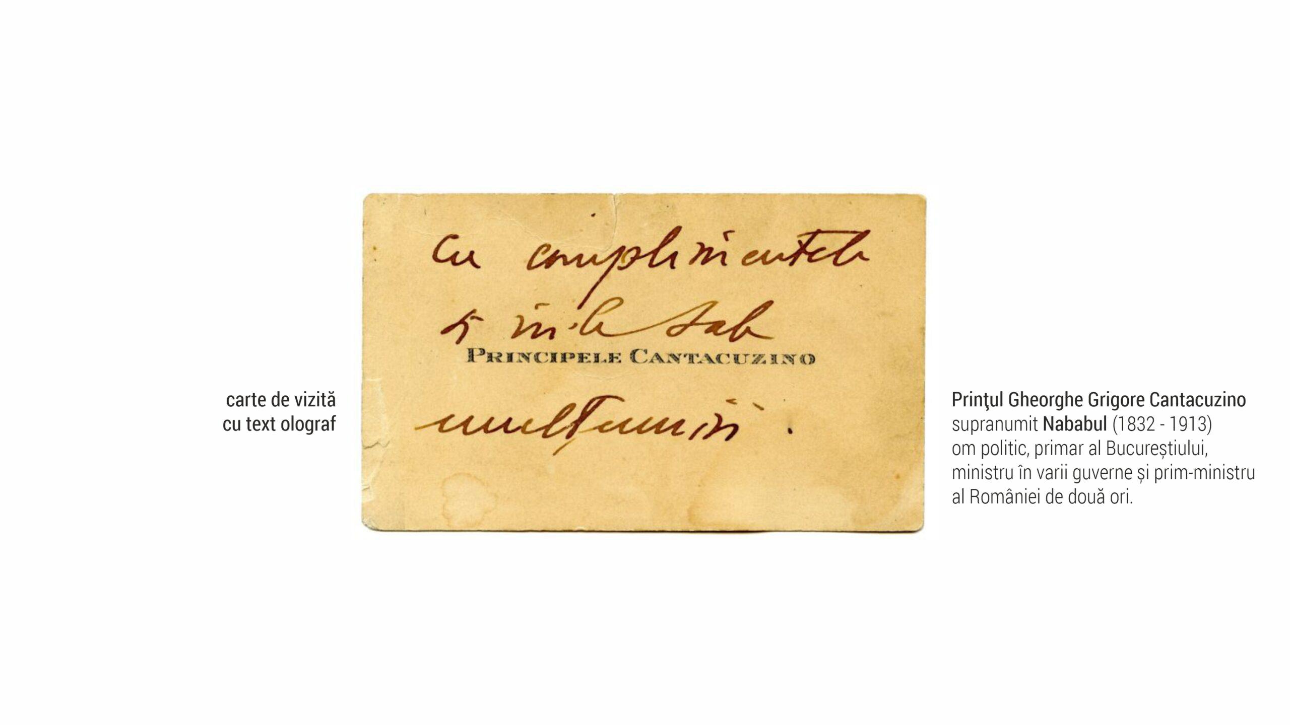Principele Cantacuzino - carte de vizita