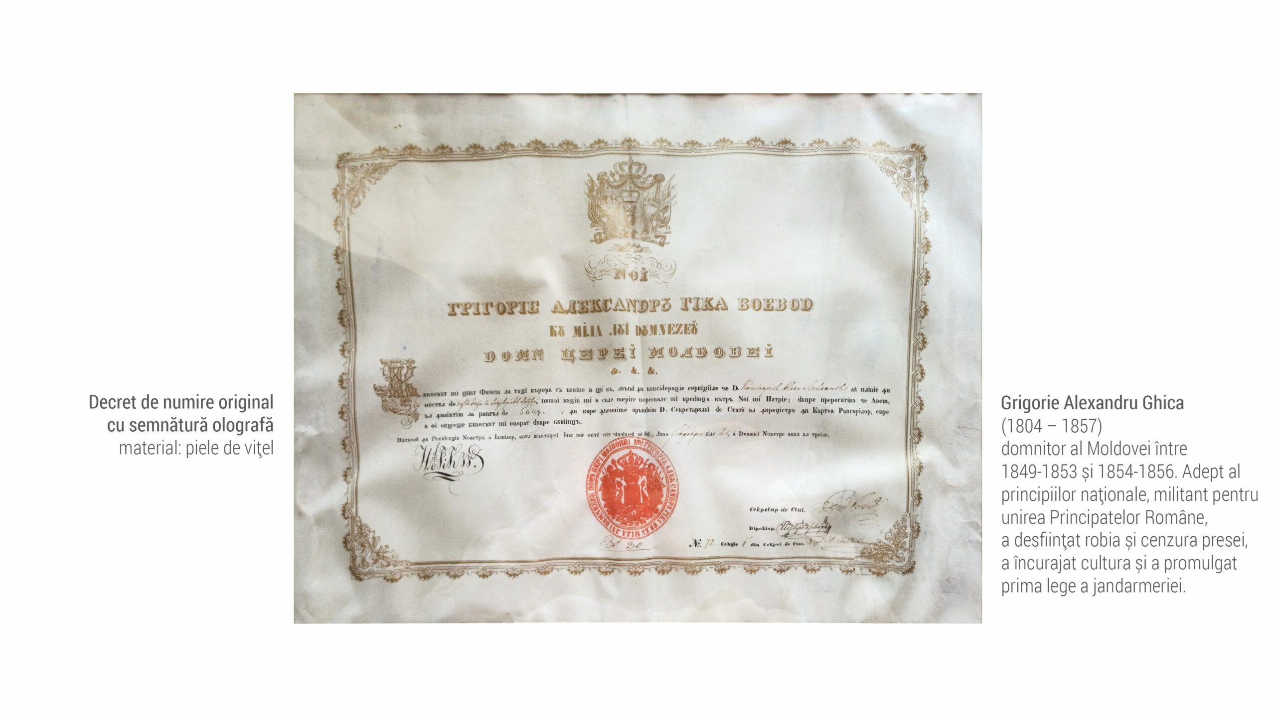 1809 Grigorie Alexandru Ghica - decret de numire